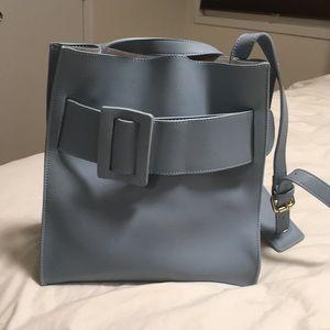 Handbags - 100% Leather bag baby blue cross body shoulder